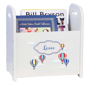 Personalized Hot Air Balloon Primary White Book Caddy And Rack