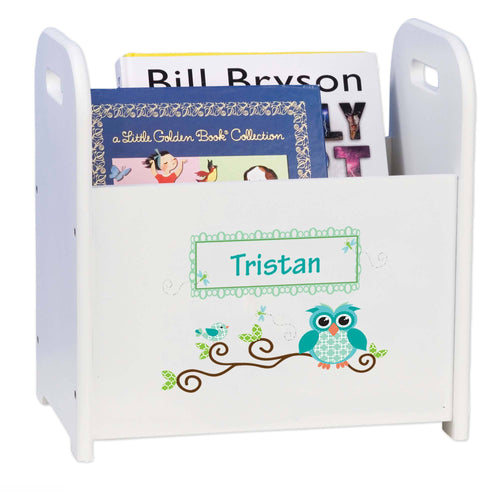 Personalized Blue Gingham Owl White Book Caddy And Rack