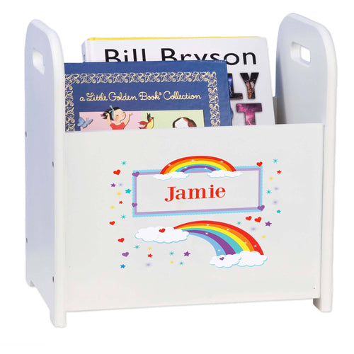 Personalized Rainbow White Book Caddy And Rack