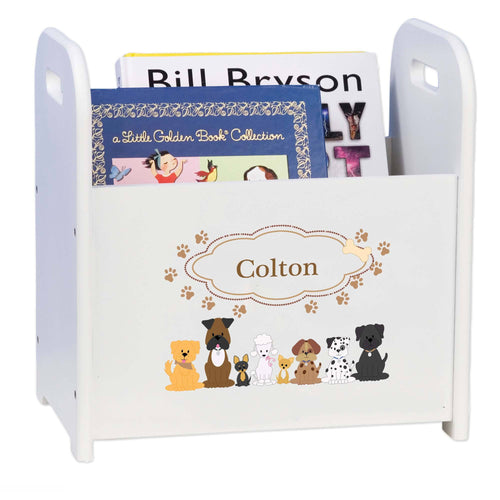 Personalized Brown Dogs White Book Caddy And Rack