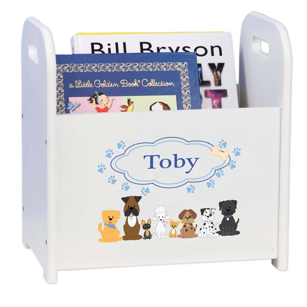 Personalized Blue Dogs White Book Caddy And Rack
