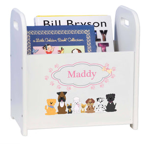 Personalized Pink Dogs White Book Caddy And Magazine Rack