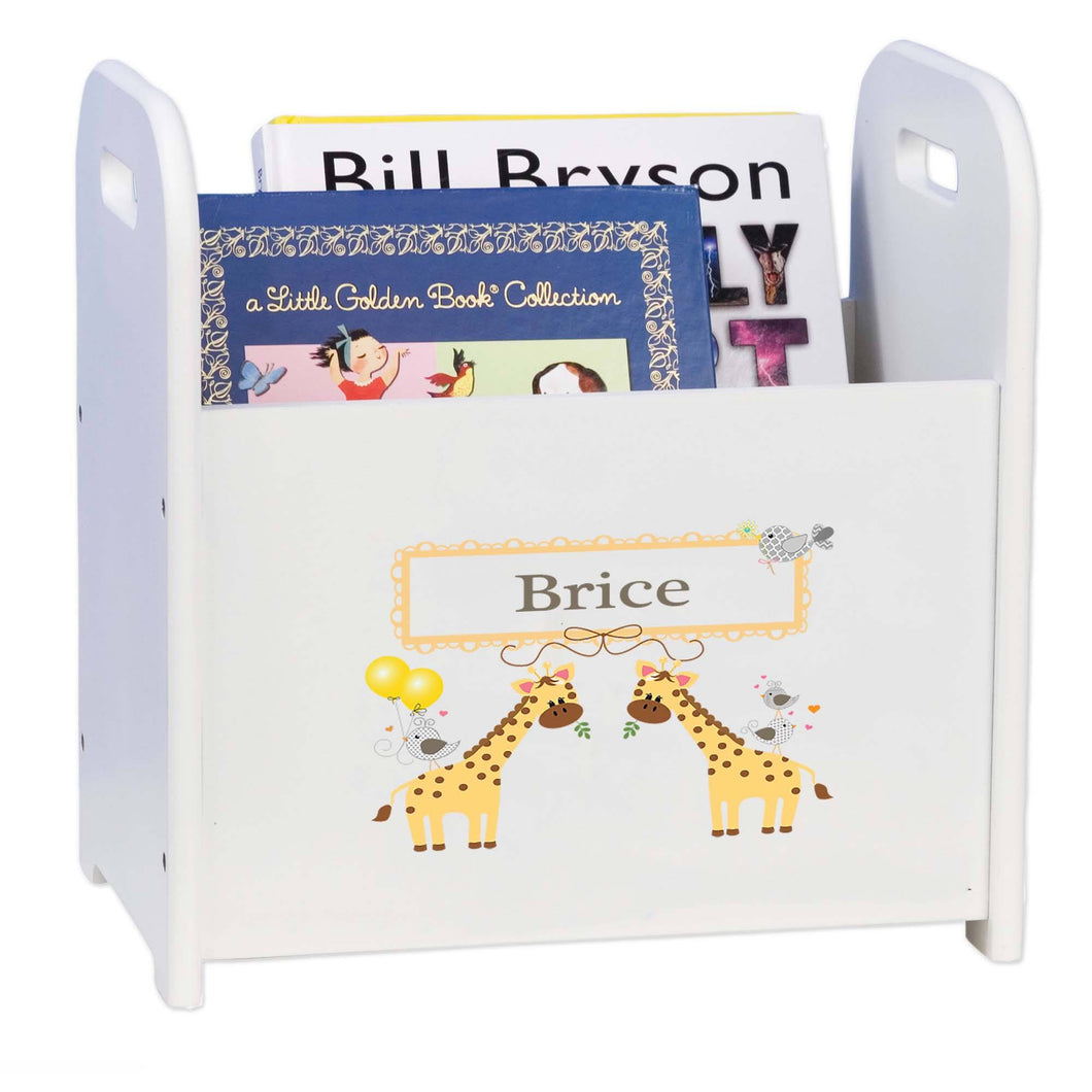 Personalized Giraffe White Book Caddy And Rack