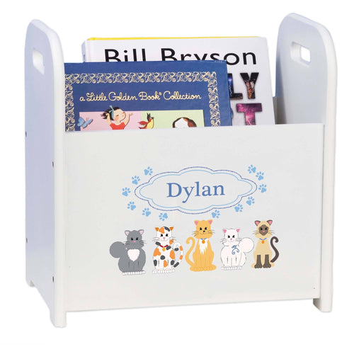 Personalized Blue Cats White Book Caddy And Rack