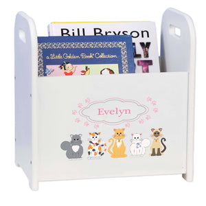 Personalized Pink Cats White Book Caddy And Rack