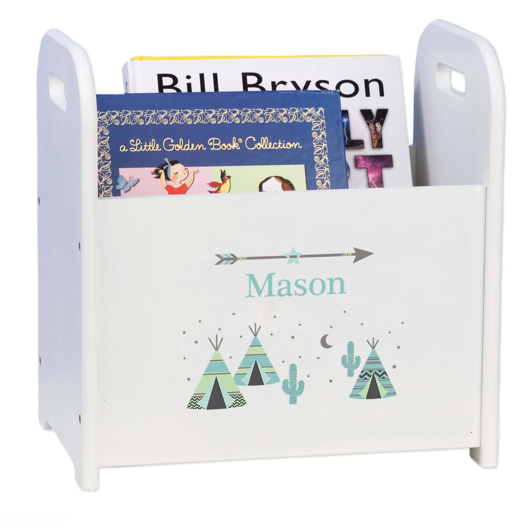 Personalized Book Caddy And ,storage With Aqua Teepee Design