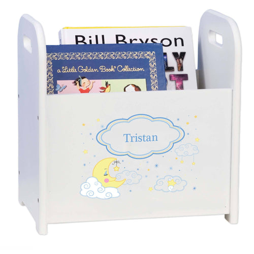 Personalized Book Caddy And ,storage With Moon And Stars Design