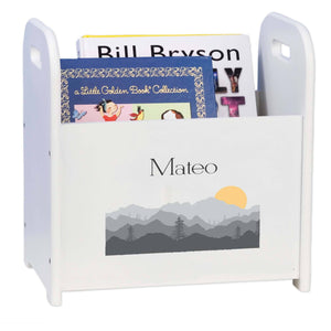Personalized Book Caddy And ,storage With Misty Mountain Design