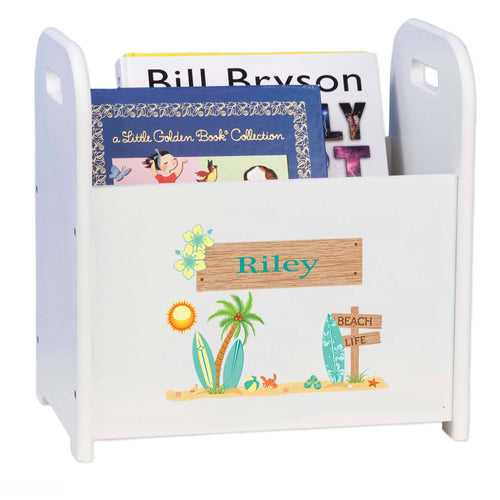 Personalized White Book Caddy Magazine Rack Surf Decor Theme Beach