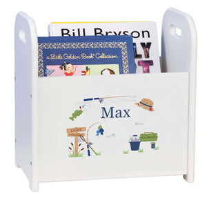 Personalized Gone Fishing Book Caddy And Rack