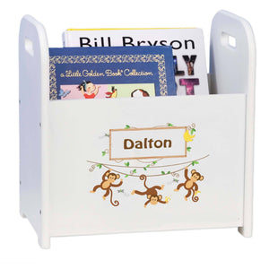 Personalized Monkey Boy Book Caddy And Rack