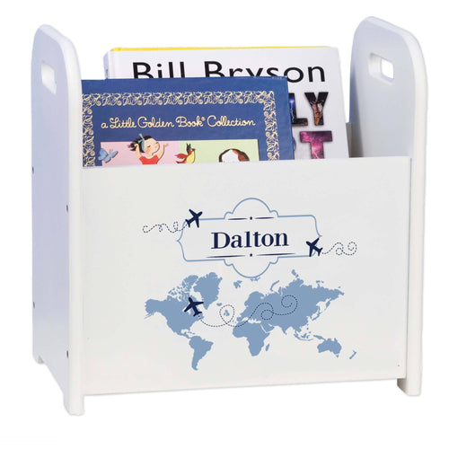 Personalized World Map Blue Book Caddy And Rack