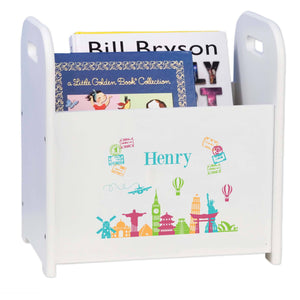 Personalized World Travel Book Caddy And Rack