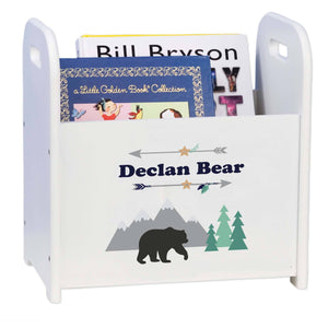Personalized Mountain Bear Book Caddy And Rack