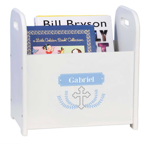 Personalized Cross Garland Lt Blue Book Caddy And Rack