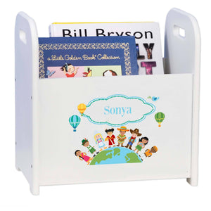Personalized Small World Book Caddy And Rack