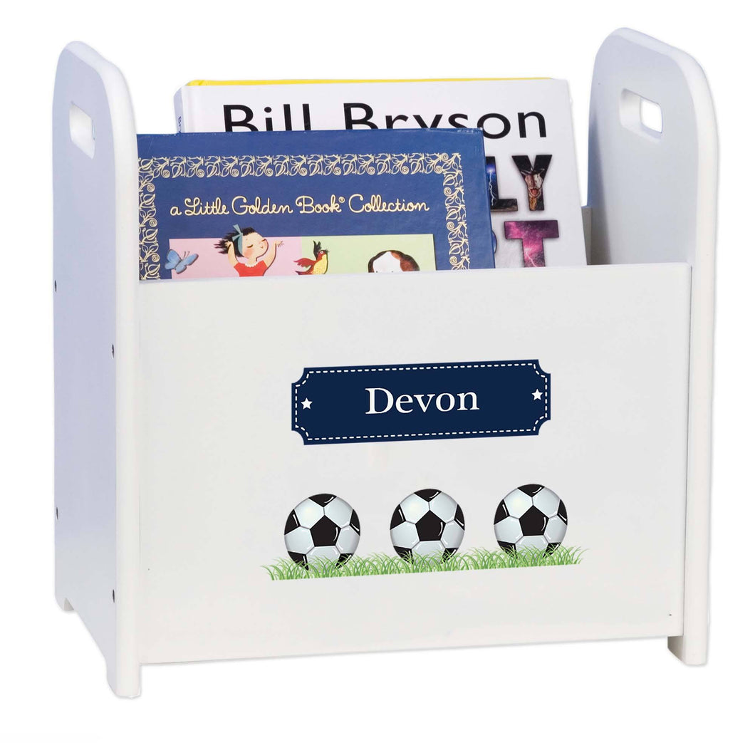 Personalized Soccer Balls Book Caddy And Rack