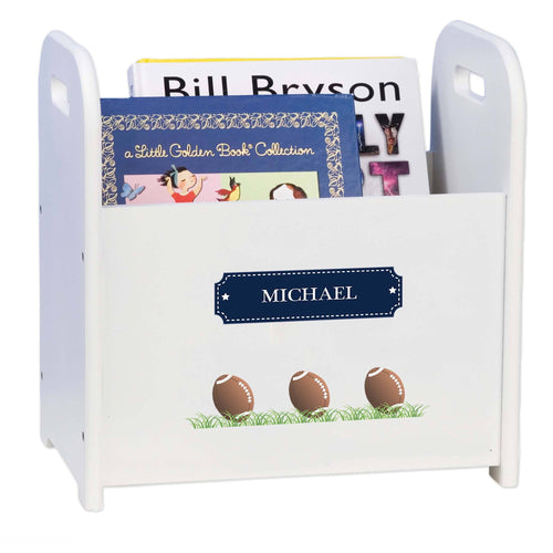 Personalized Footballs Book Caddy And Rack