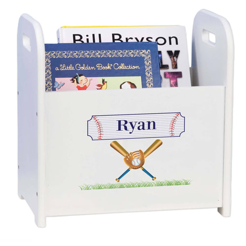 Personalized Baseball Book Caddy And Rack