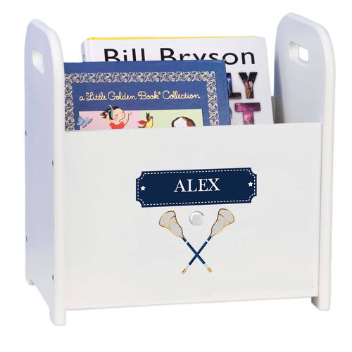 Personalized Lacrosse Sticks Book Caddy And Rack