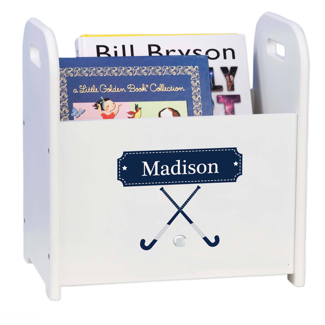 Personalized Field Hockey Book Caddy And Rack