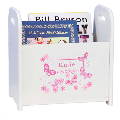 Personalized Book Caddy And ,storage With Pink Butterflies Design