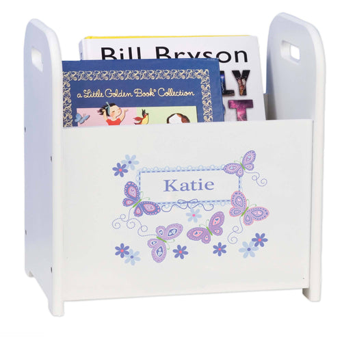 Personalized Book Caddy And ,storage With Lavender Butterflies Design
