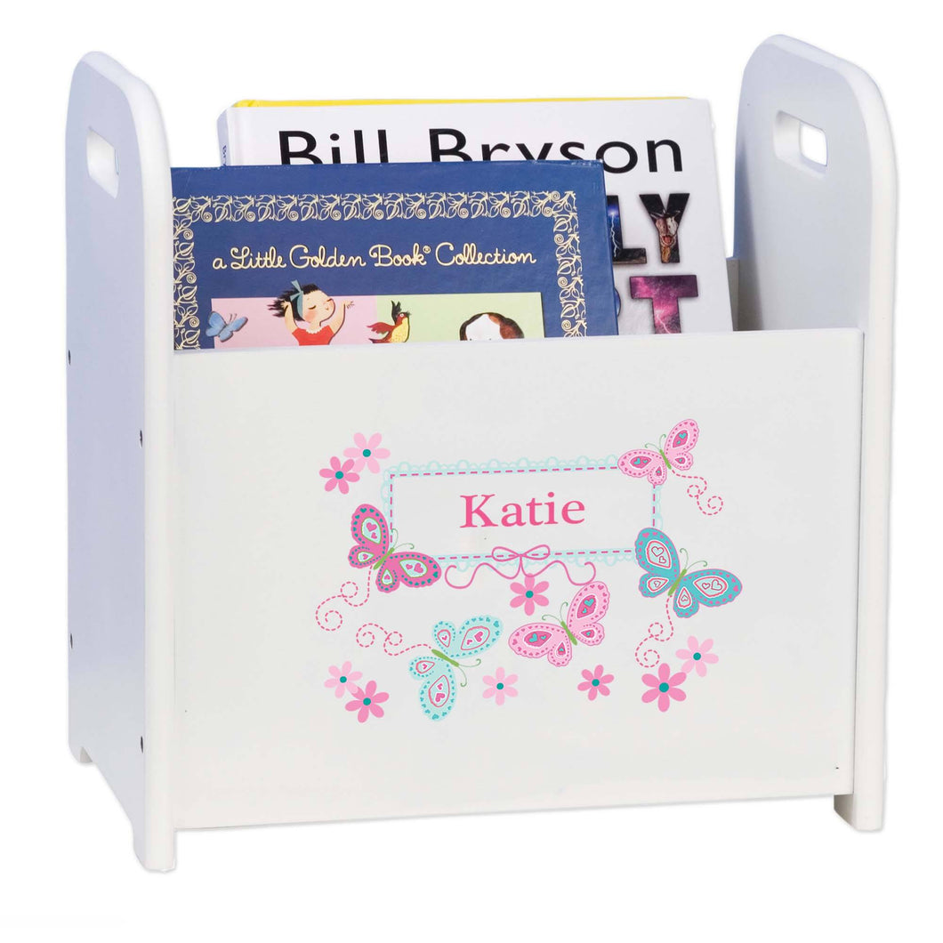 Personalized Book Caddy And ,storage With Aqua Butterflies Design