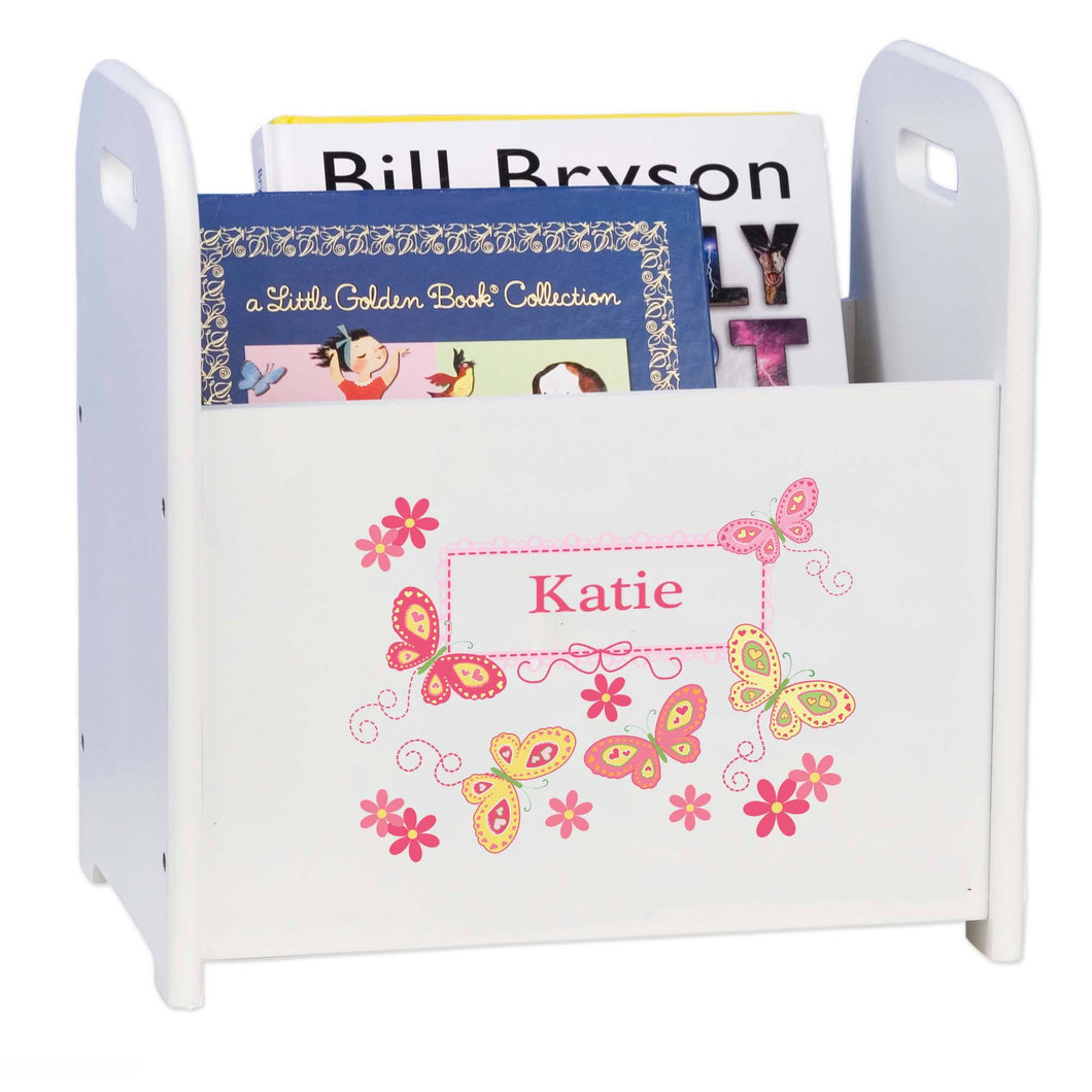 Personalized Book Caddy And ,storage With Yellow Butterflies Design