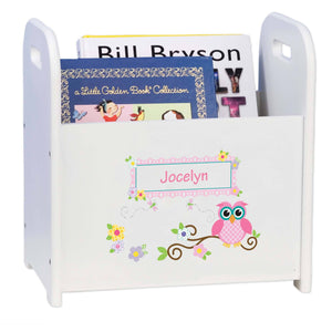 Personalized Child's Book ,storage Magazine Rack Owl Theme
