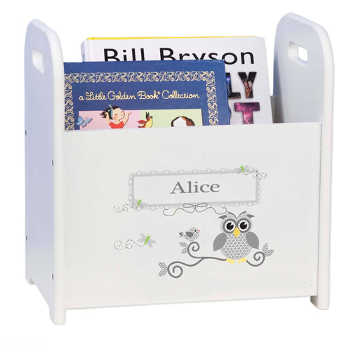 Personalized Gray Owl White Book Caddy And Rack