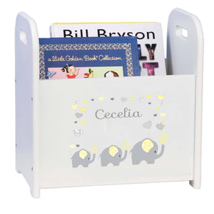 Personalized Yellow Elephants White Book Caddy And Rack