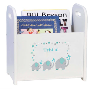 Personalized Grey And Teal Elephant White Book Caddy And Rack