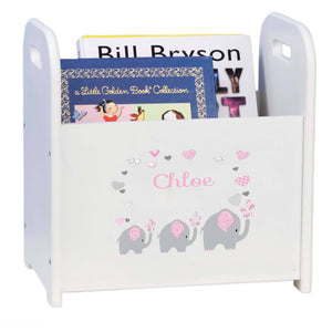Personalized Pink Elephant Book Caddy And Rack