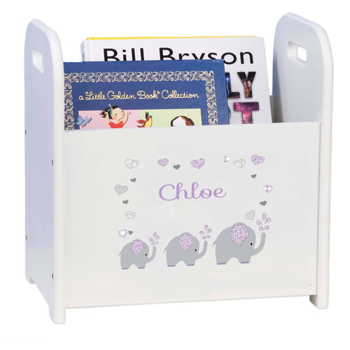 Personalized Lavender Elephant Book Caddy And Rack
