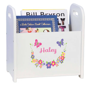 Personalized Bright Butterflies And Flowers Book Caddy And Rack