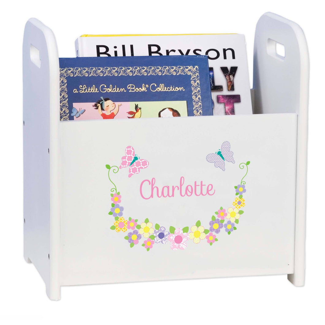 Personalized Pastel Butterflies White Book Caddy And Rack