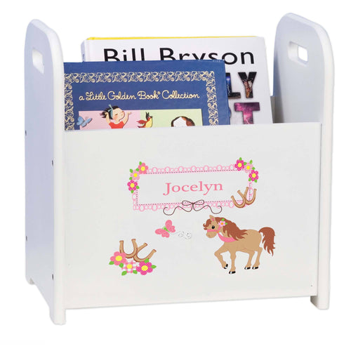 Personalized Ponies Prancing White Book Caddy And Rack