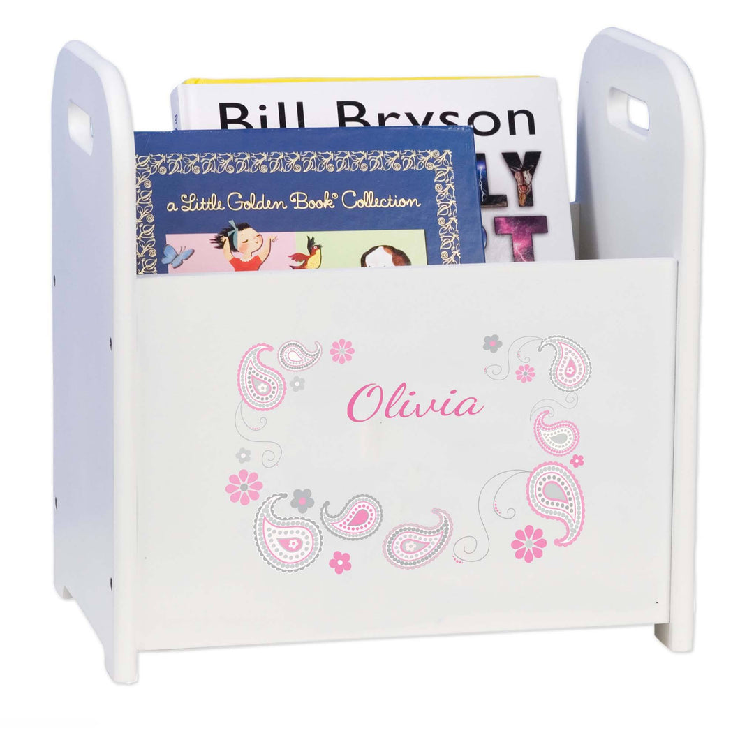 Personalized Paisley Pink Gray White Book Caddy And Rack