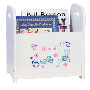 Personalized Paisley Teal And Pink White Book Caddy And Rack