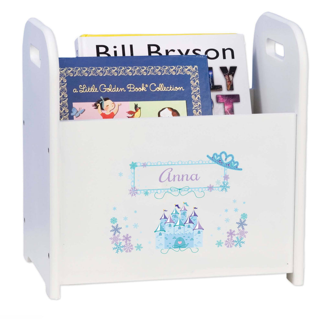 Personalized Winter Princess Castle Book Caddy And Rack