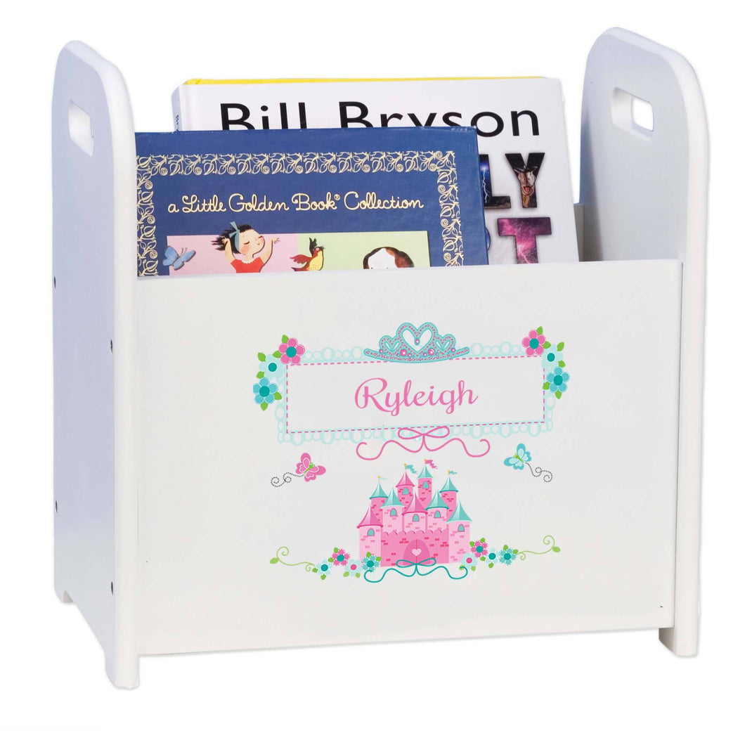 Personalized Pink Teal Princess Castle Book Caddy And Rack
