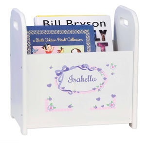 Personalized Child's Book ,storage Magazine Rack Lacey Bow