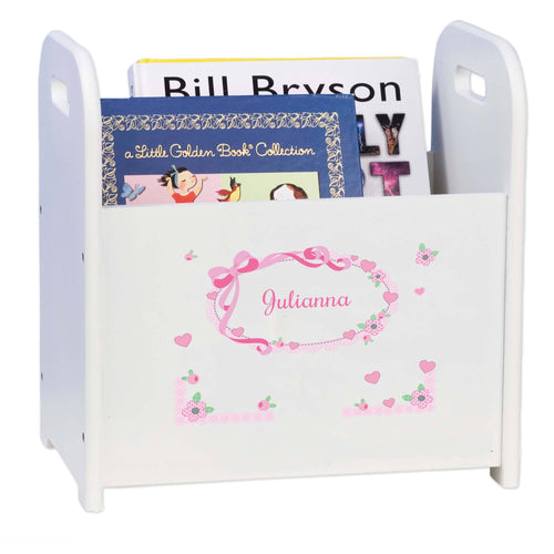 Personalized Pink Bow White Book Caddy And Magazine Rack