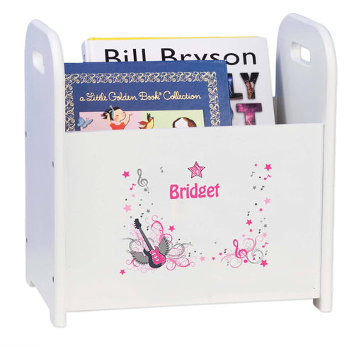 Personalized Pink Rock Star White Book Caddy And Rack