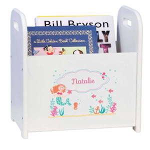 Personalized Mermaid Princess White Book Caddy And Rack