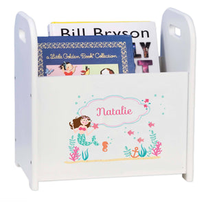 Personalized Brunette Mermaid Princess White Book Caddy And Rack
