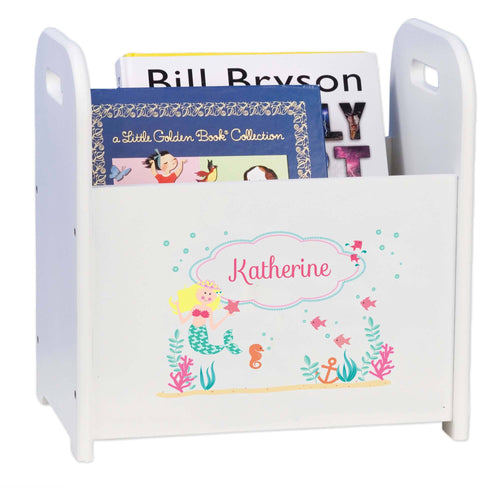 Personalized Blonde Mermaid Princess White Book Caddy And Rack
