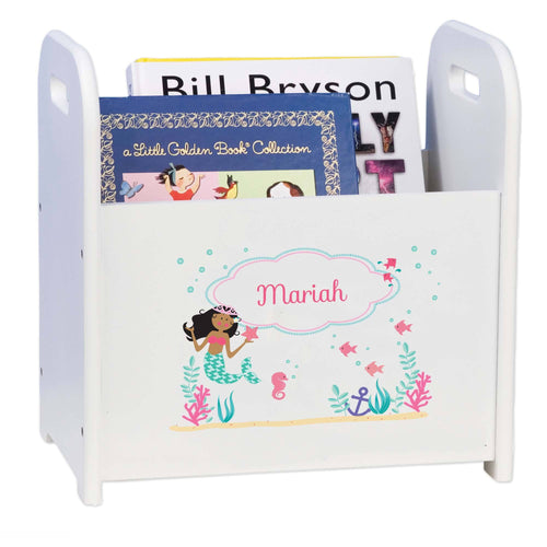 Personalized African American Mermaid Princess White Book Caddy And Rack