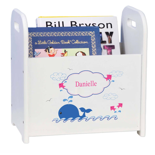 Personalized Pink Whale White Book Caddy And Magazine Rack
